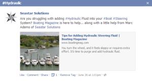 Hydraulic Steering Hashtag Posting for SeaStar Solutions
