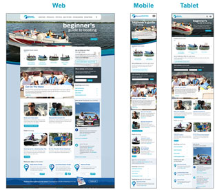 discover boating responsive website