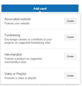 youtube card options